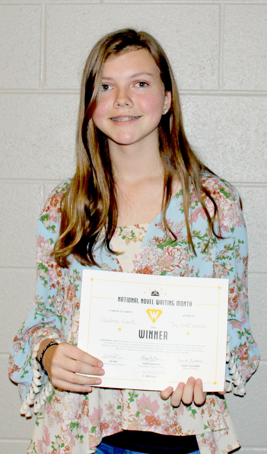 CAROLINE CLARK had the highest word count among the 125 eighth-graders at Cleveland Middle School who participated in National Novel Writing Month. She wrote a murder mystery novel more than 40,000 words long.