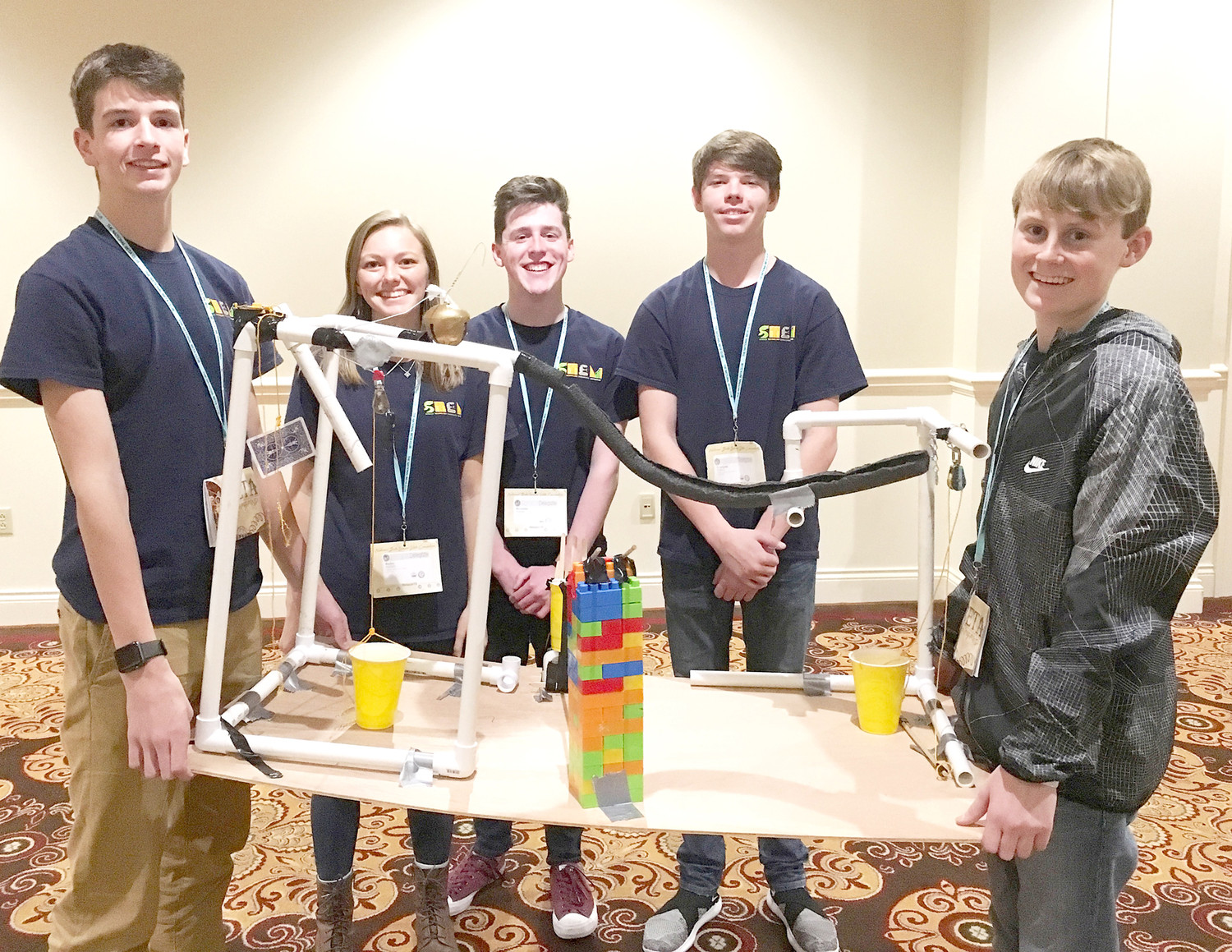 STUDENTS Jake Smith, Bailey Mullett, Brandon Solsbee, Traegan Gober and Blake Campbell competed and placed third overall in the Beta Build category while representing Walker Valley High School in the recent state Beta Club convention. They built a Rube Goldberg device with certain specifications in just two hours. WVHS took 35 students to compete, and they won 10 state titles. They showed their skill in academic subjects, photography, advertising, visual arts, robotics, speech and more.