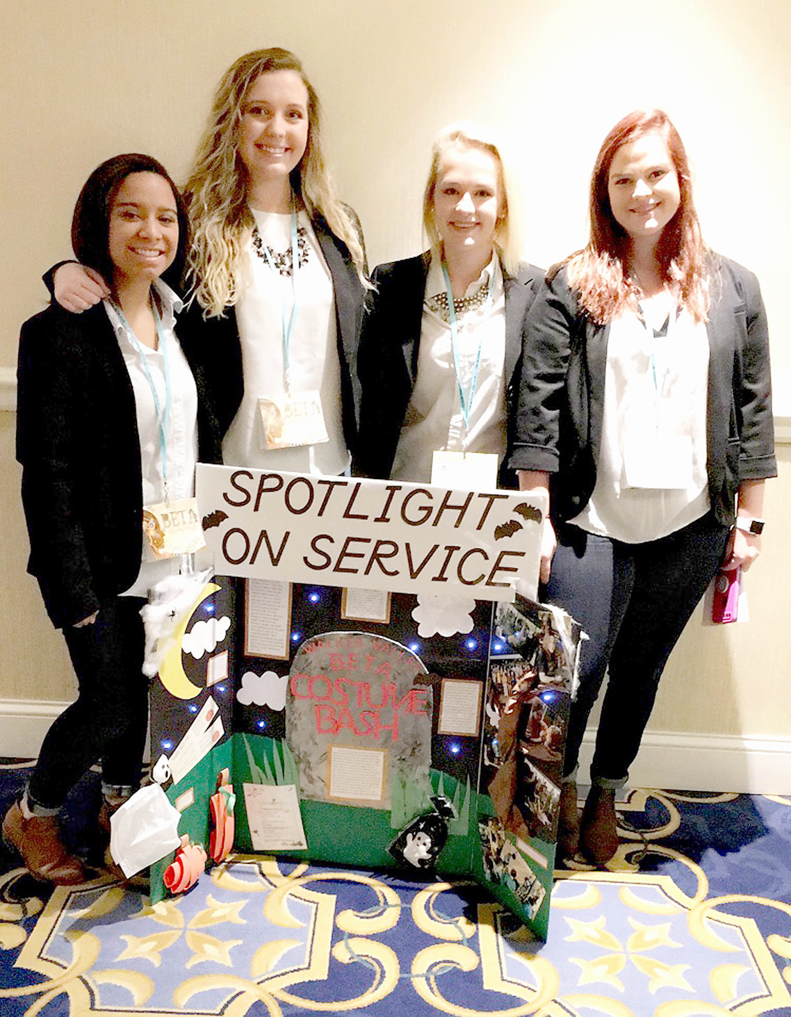 THE TEAM of Gaby Burse, Caroline Logan, Madeline Brooks and Jordan Fox competed and placed third overall in Spotlight on Service during the recent state Beta Club convention. The team highlighted the 2017 Beta Club Costume Bash where they collected over 200 Halloween costumes for children in the community, and held an event where they could pick out costumes and take part in other fun activities.