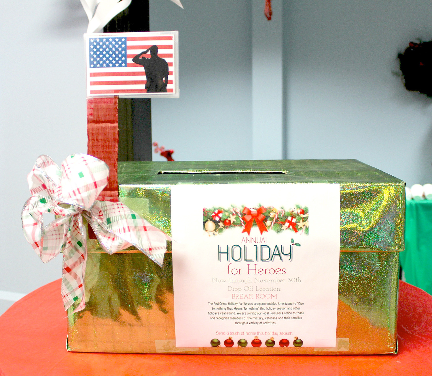 "THIS COLLECTION BOX was stuffed full of cards as employees of the Whirlpool Customer eXperience Center participated in the American Red Cross' ""Holidays for Heroes."""