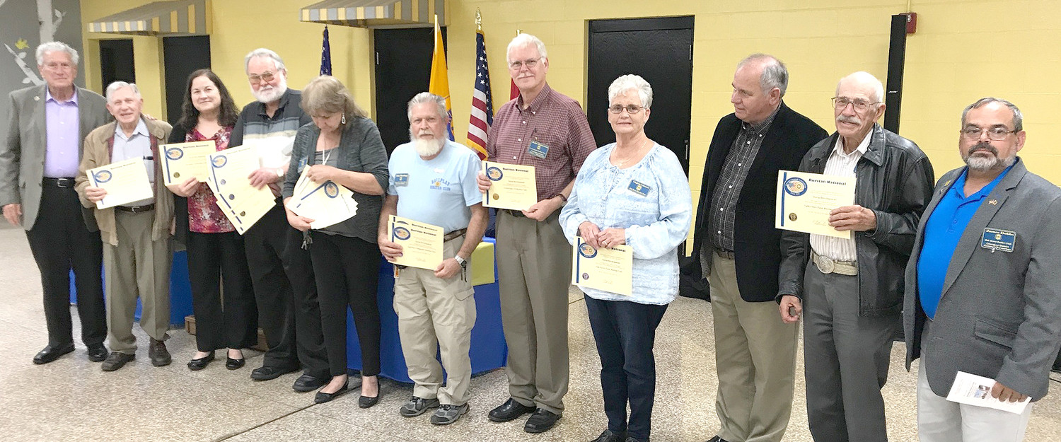 Committee members WW Johnson, left, of Westside Ruritan and James Dobbs, right, of Oak Grove Ruritan, presented the Cherokee District 2017 Community Service Awards. Winners are Lavell Whitehead of Morrison; Pat Mulcahy, Westside; Terry Williford, Harrison; Barbara Chadwick of McDonald/Black Fox; John Bearlapp, Ball Play; John Paterson, Crossroads; Trudy Smith, Oak Grove; Rusty McMahan of North Lee; and Mel Griffith of Valley View. Morrison and Westside received five Gold Awards.