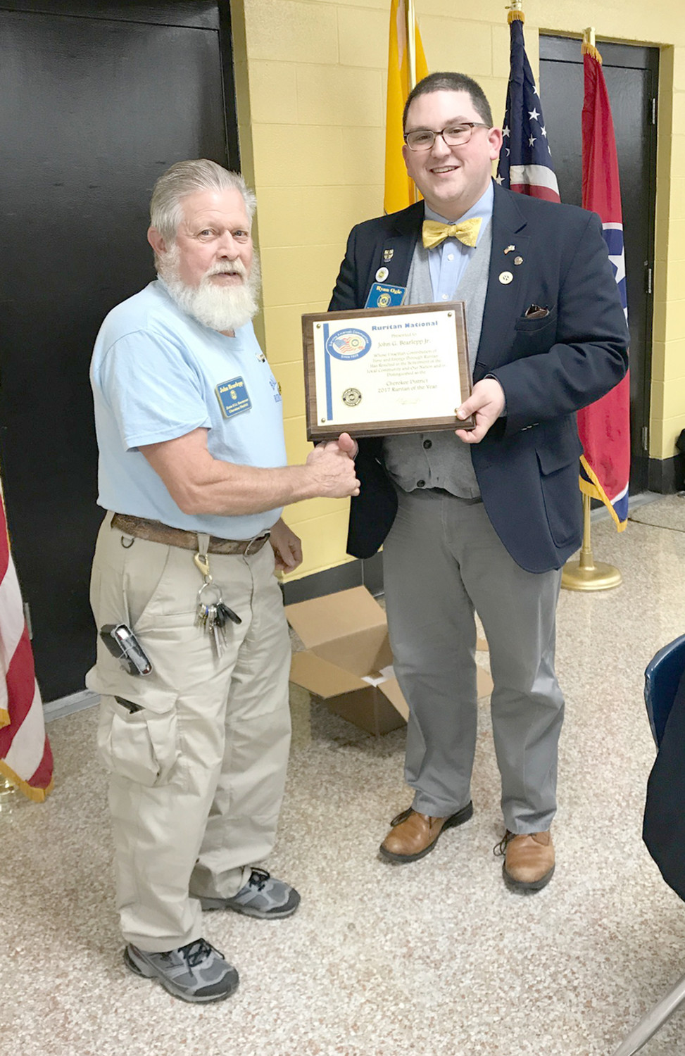 JOHN BARLAPP was named Cherokee District Ruritan of the Year during the recent awards presentations. District Governor Ryan Ogle made the presentation.