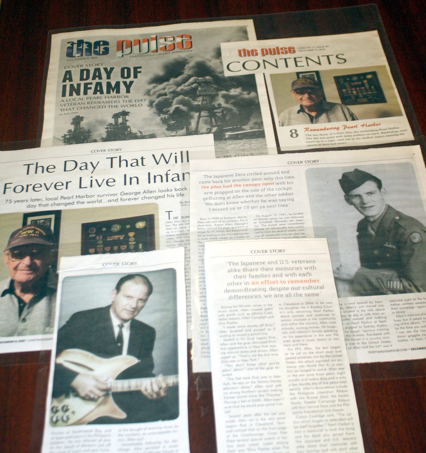 A NUMBER of newspaper articles about Cleveland's George Allen are displayed. He's the only local Pearl Harbor survivor still living in Southeast Tennessee. Allen, 95, will be attending Thursday's annual Pearl Harbor Day ceremony at the Elks Lodge.