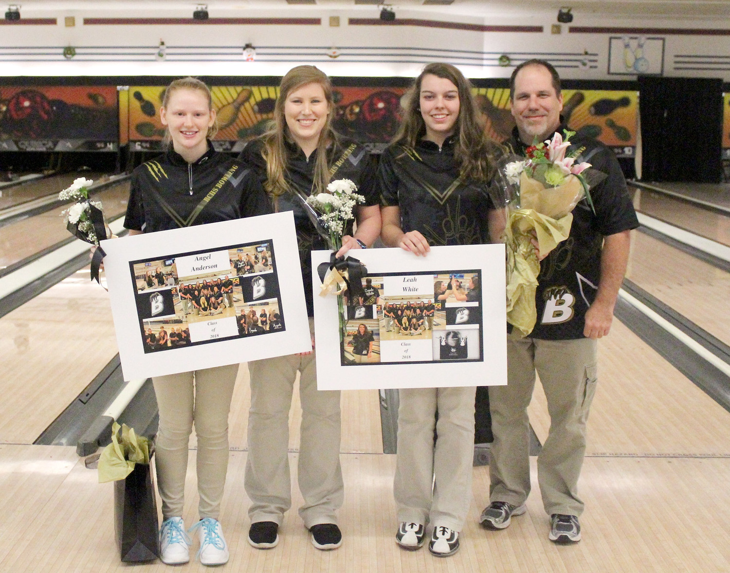BRADLEY CENTRAL honored its lone two senior bowlers before a victory against Rhea County this week. Pictured from left, senior Angel Anderson, head coach Chelsea Hancock, senior Leah White and assistant coach Aaron White.