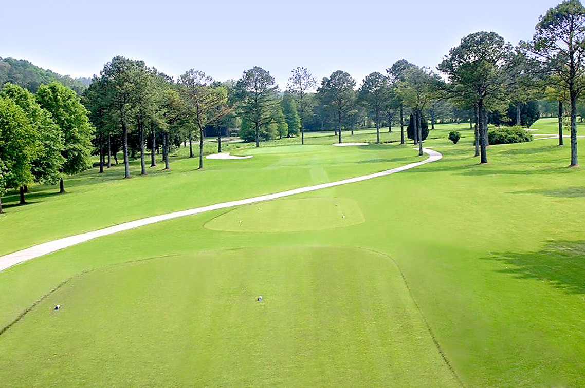 THE 13TH HOLE at Cleveland Country Club is a par 3. Lee University has partnered with CCC to host the 2019 women's super regional.
