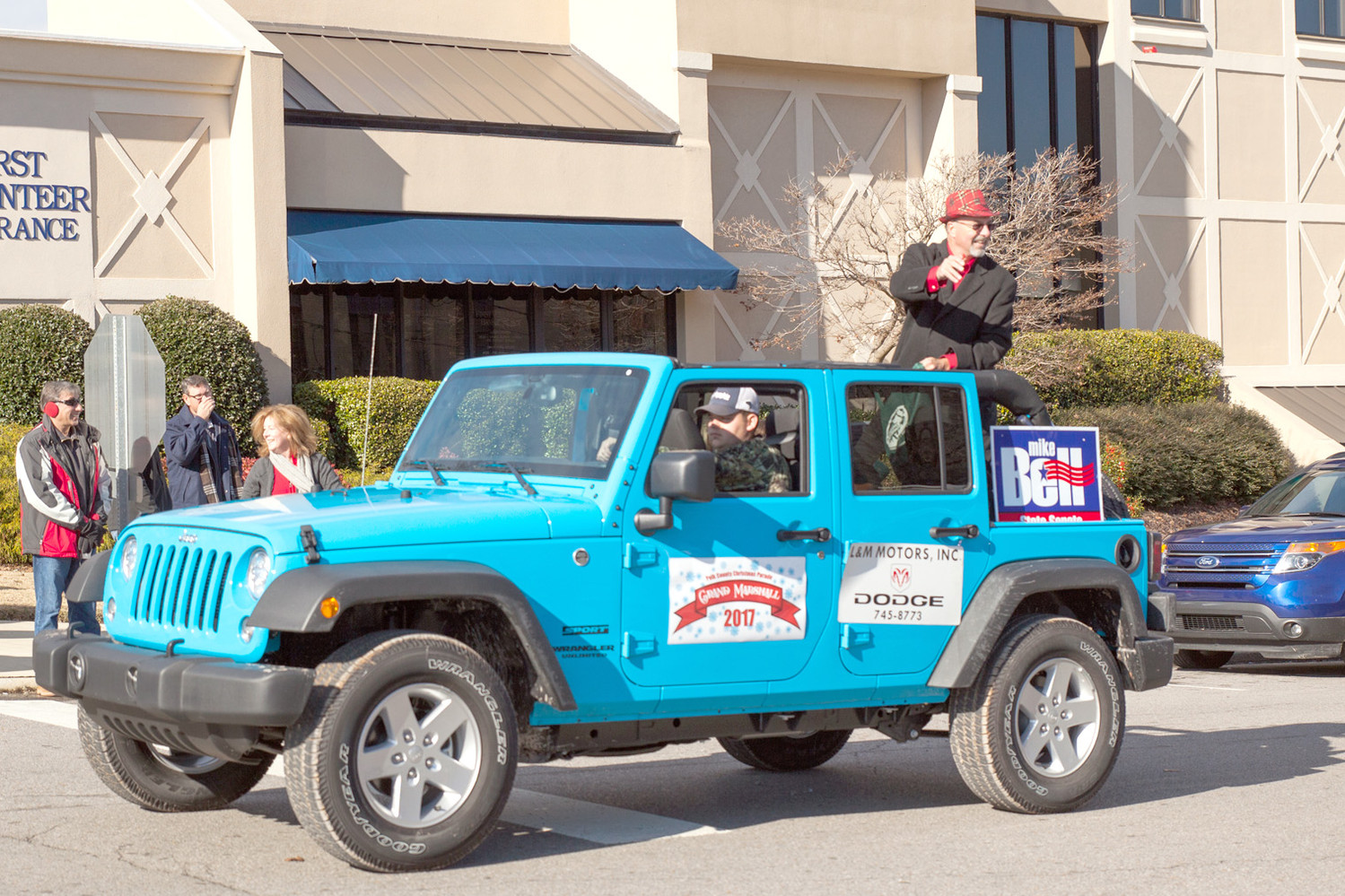 SENATOR MIKE BELL was present and passing out candy during the Polk County Parade on Saturday.