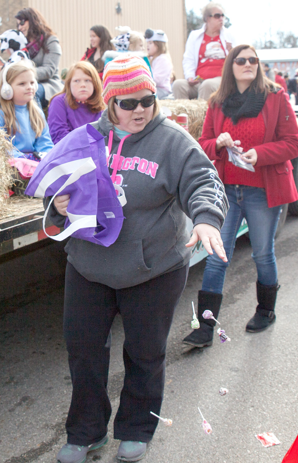 Most of the floats were accompanied by people, like the lady pictured, passing out candy to all the attendees.