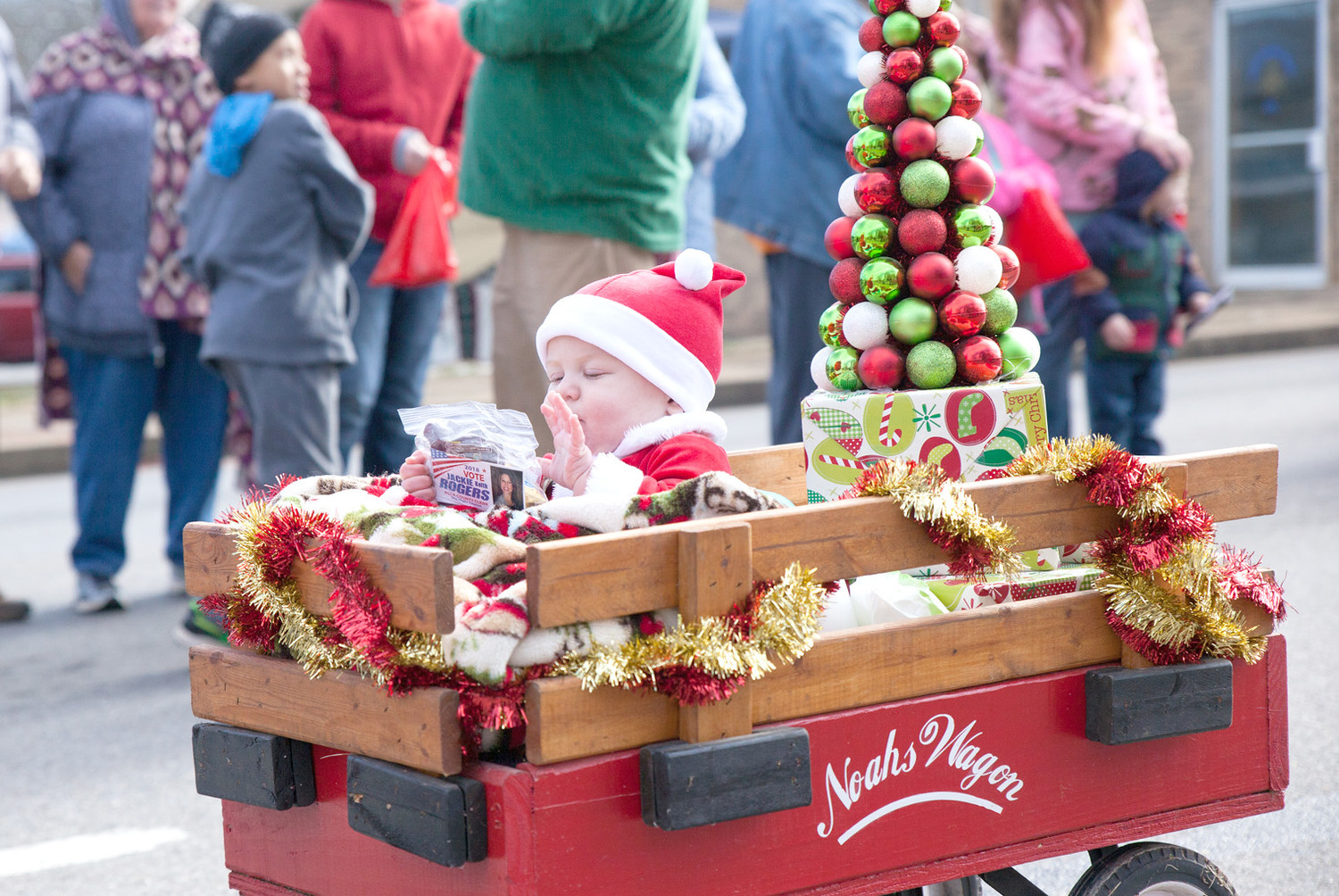 THIS LITTLE HELPER, dressed as Santa Claus, was possibly the youngest single float occupant in the Polk County Parade on Saturday.