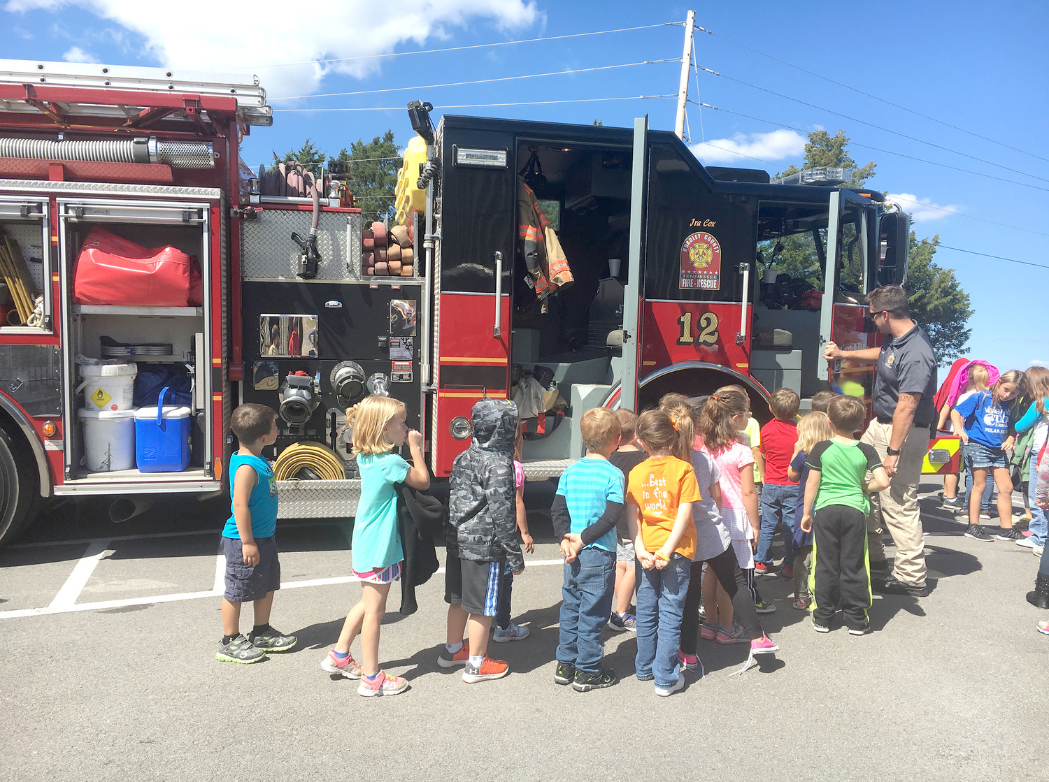 KINDERGARTEN students at Valley View Elementary School learn about the functions of fire trucks. Bradley County Fire-Rescue recently visited the school to teach students about fire safety and how firefighters help in emergencies.