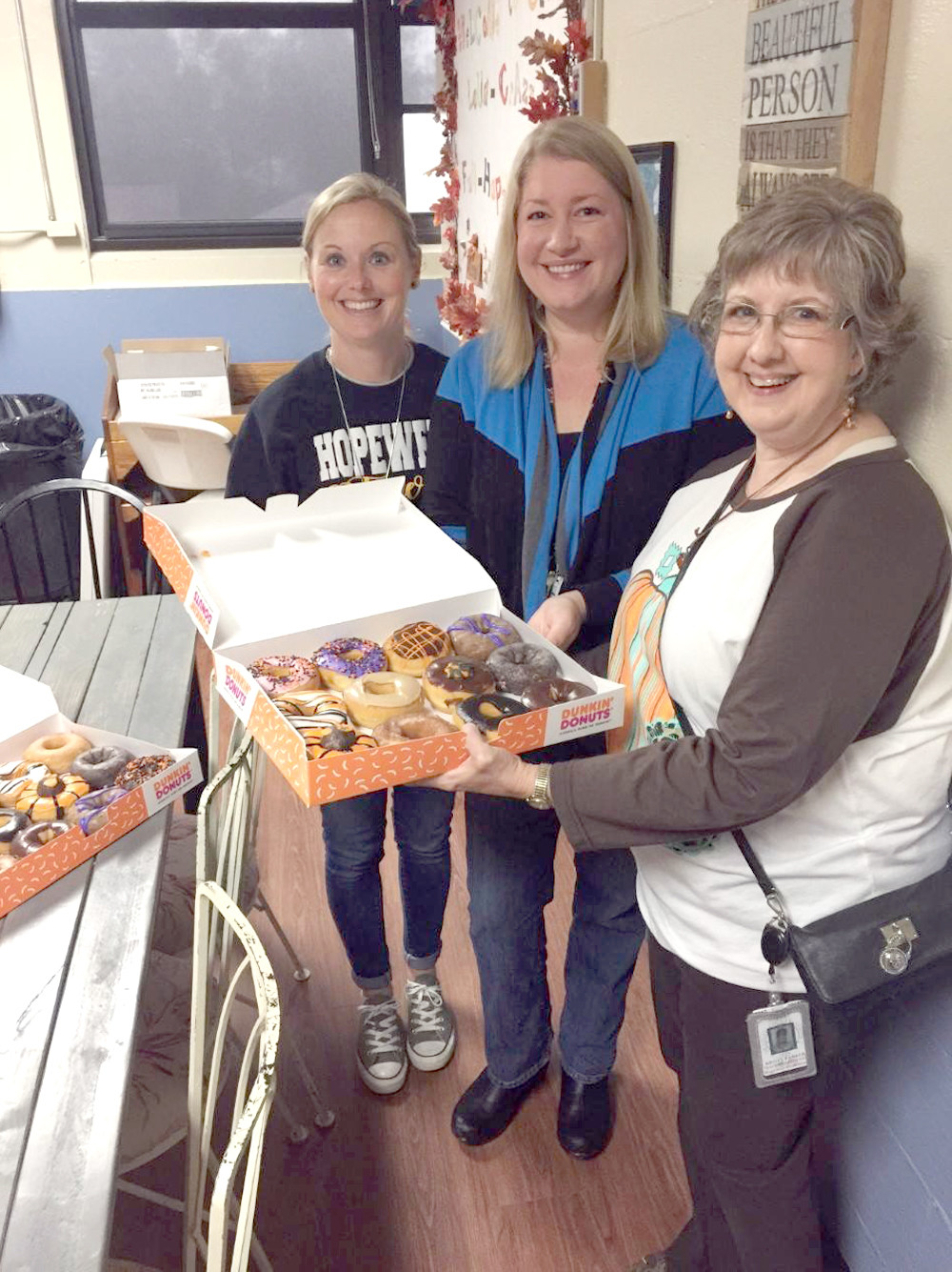 Faculty at Hopewell Elementary School were treated to surprise donuts by members of Clingan Ridge Baptist's Boots on the Ground