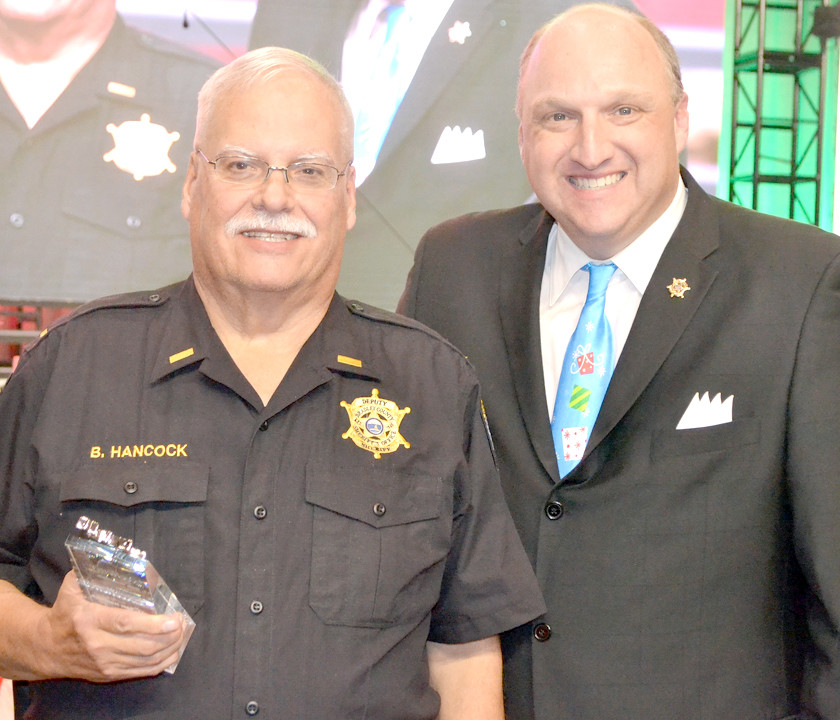 LT. BOB HANCOCK, who heads the Neighborhood Watch program for the Bradley County Sheriff's Office and will be retiring in 2018, was presented the Sheriff's Career Excellence Award.