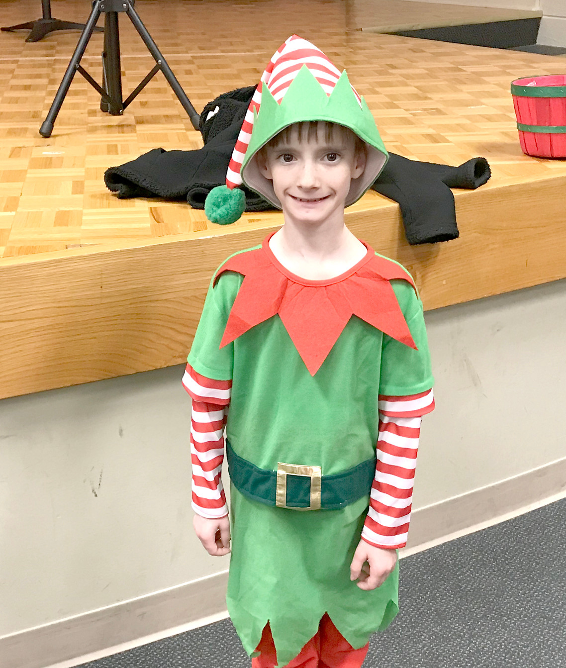 RYLAN HAMBY dressed as an elf and helped spread holiday cheer while at Blythe-Bower Elementary's  Christmas Dance and Fun Night.