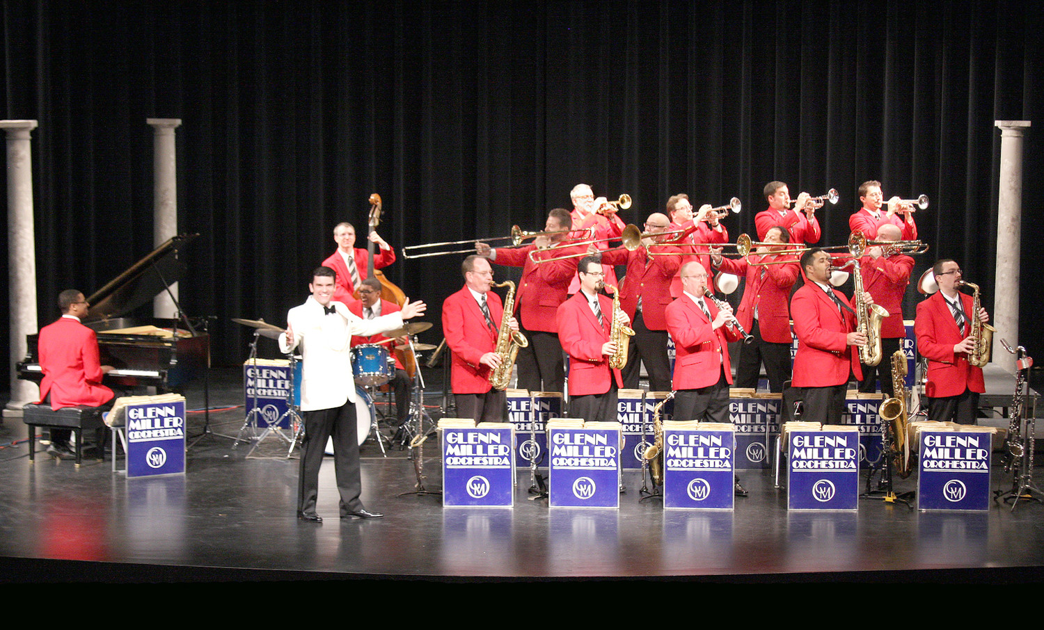 This is the world famous Glenn Miller Orchestra, with music director Nick Hilscher. The orchestra has been touring consistently since 1956, playing an average of 300 live performances a year all around the world.
