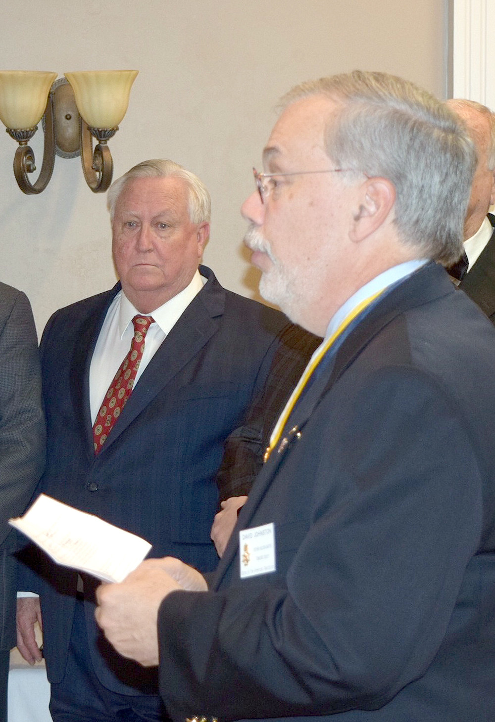 TENNESSEE Society of the SAR President David Johnston swears in new officers.