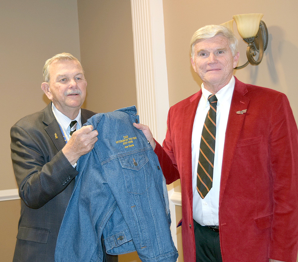 STAN EVANS presents the Disabled American Veteran of the Year jacket to Joe Davis.