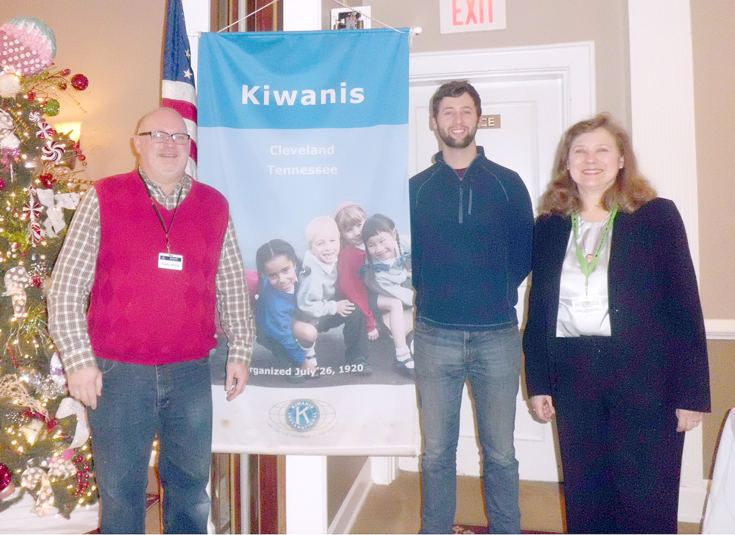 "On Thursday, Kiwanis Club of Cleveland members enjoyed the special holiday presentation of ""Why The 'Dickens' Do We Celebrate Christmas This Way?"" by speaker Ann Dietrich, Cleveland Bradley County Public Library Reader's adviser, at the weekly meeting at the Elks Club in downtown Cleveland. From left are Andy Hunt, Kiwanis December program chair; Mike Stoess, Kiwanis Club of Cleveland president; and Dietrich. The Kiwanis Club of Cleveland members recently provided coats and other clothing items to 94 Head Start students at the Blythe Avenue Head Start classes, as a part of their dedication as volunteers who are dedicated to changing the world, one child and one community at a time."