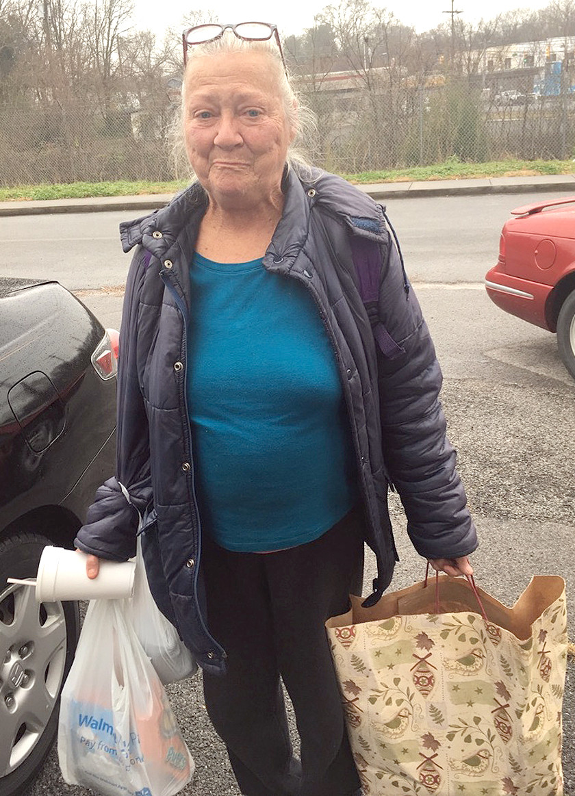 """THE COAT LADY"" of Cleveland, Diane Heil, says there are 300 to 400 homeless in Cleveland, like Wilma above, who she assists as much as possible."
