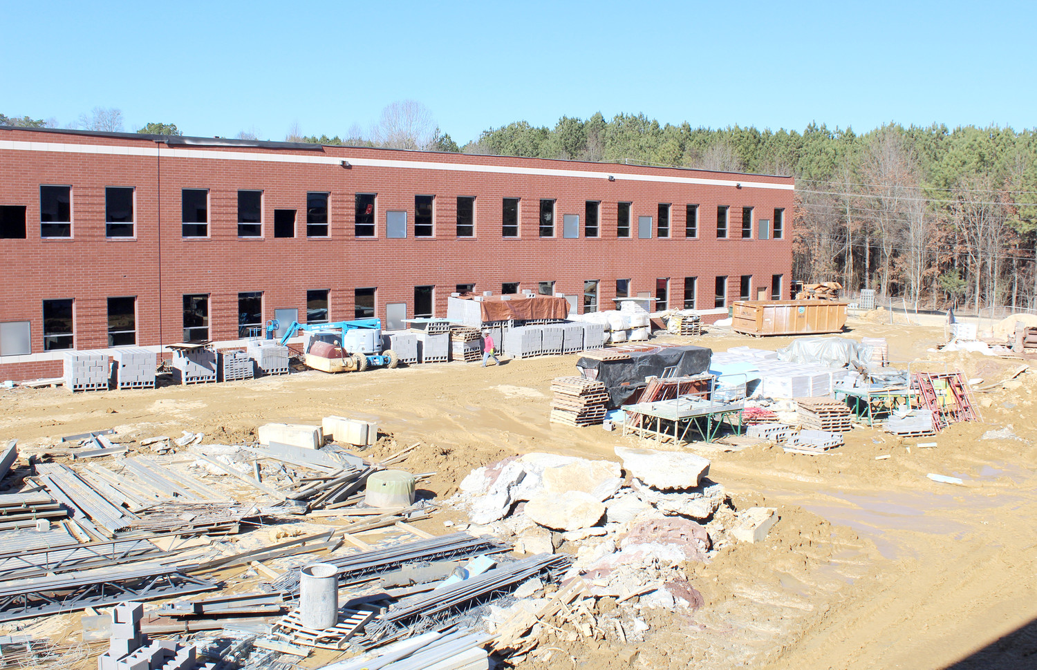 CONSTRUCTION is underway on a new academic building for students at Lake Forest Middle School. It is expected to be ready for students to begin classes there next fall.