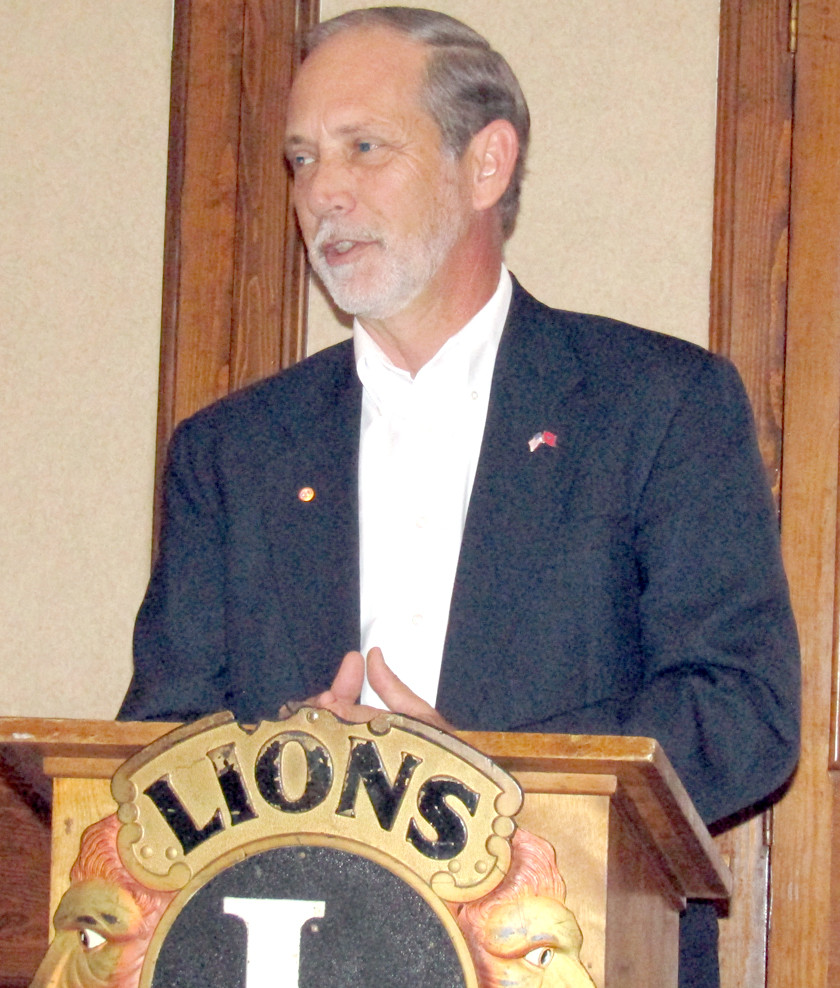 BRADLEY COUNTY Mayor D. Gary Davis spoke to a luncheon of the Cleveland Lions Club earlier this year about progress being made on repairs after the Bradley County Courthouse fire.