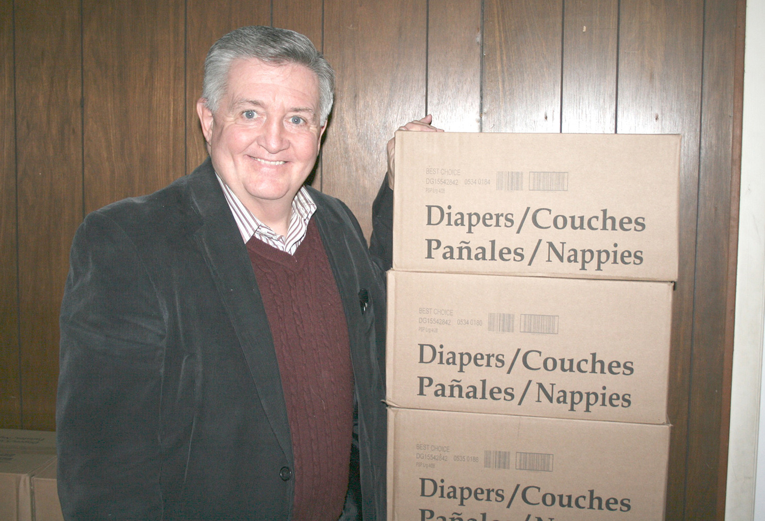 Dr. Jimmy DuPree stands with boxes of donated diapers. According to DuPree, all of the diapers will be distruted to families in need by the end of the week.