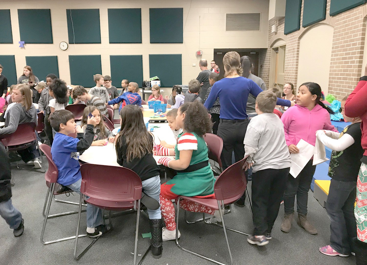 A LARGE GROUP of students turned out to make holiday ornaments recently at Blythe-Bower Elementary School.