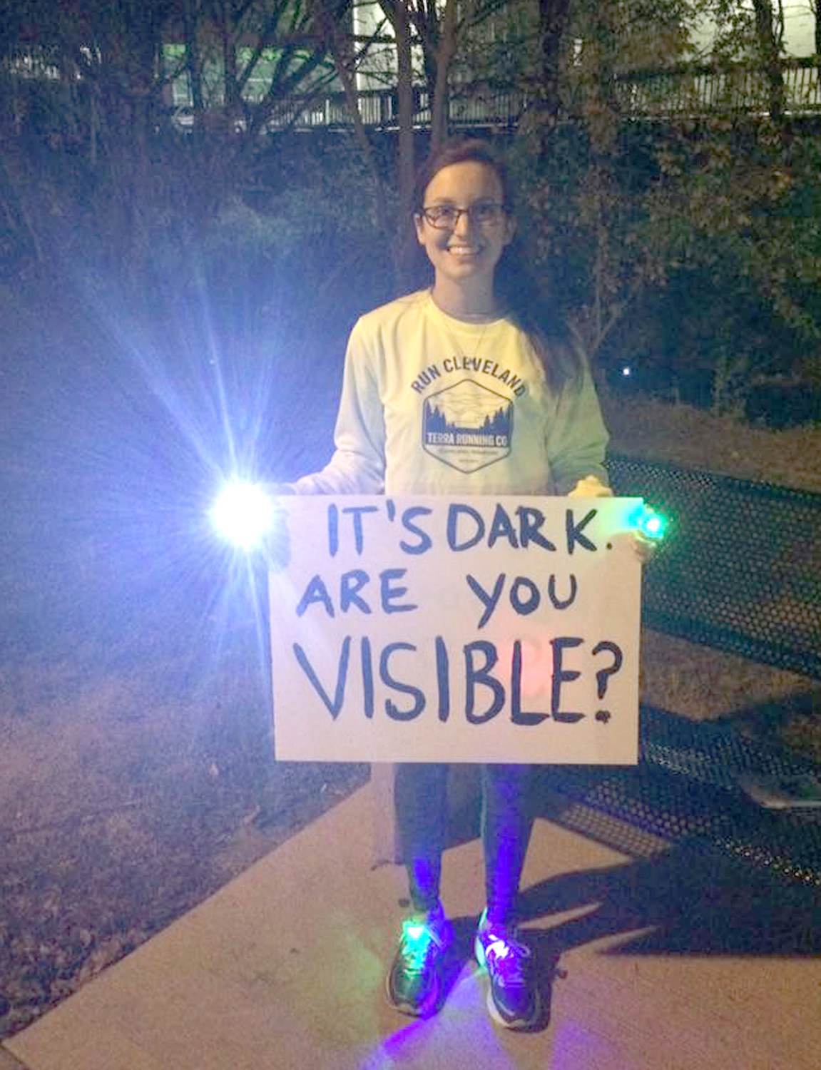 BRITTANY DURKIN reminds runners and walkers there are safe ways to participate in these activities, especially if out on area roadways in the early morning or evening hours. The best safety measure is to make yourself visible to motorists during these times.