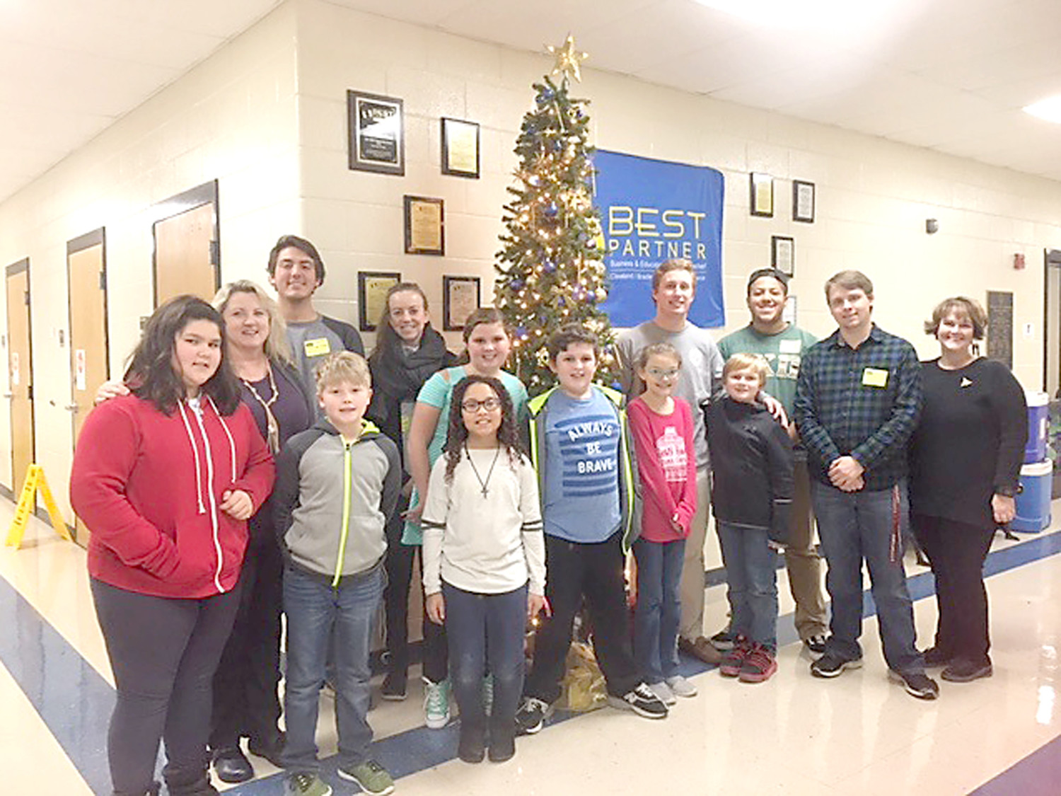 LEE UNIVERSITY students have been helping teach communication skills to students at Michigan Avenue Elementary School. Pictured are some of the 60 fourth-graders and 80 Lee students who participated recently. In the front row, from left, are Adrianna Brookshire, Gavin Chamberlin and Jazzmyn Taylor. In the back row are Debbie Walker, Ryan Beamish, Anne Hedegaard, Madalyn Strickland, Noah Shuler, Maggie Arrowood, Dalton Ney, Braxton Sampson, Peyton Clark, Jacob Westveer and Dr. Megan Moe.