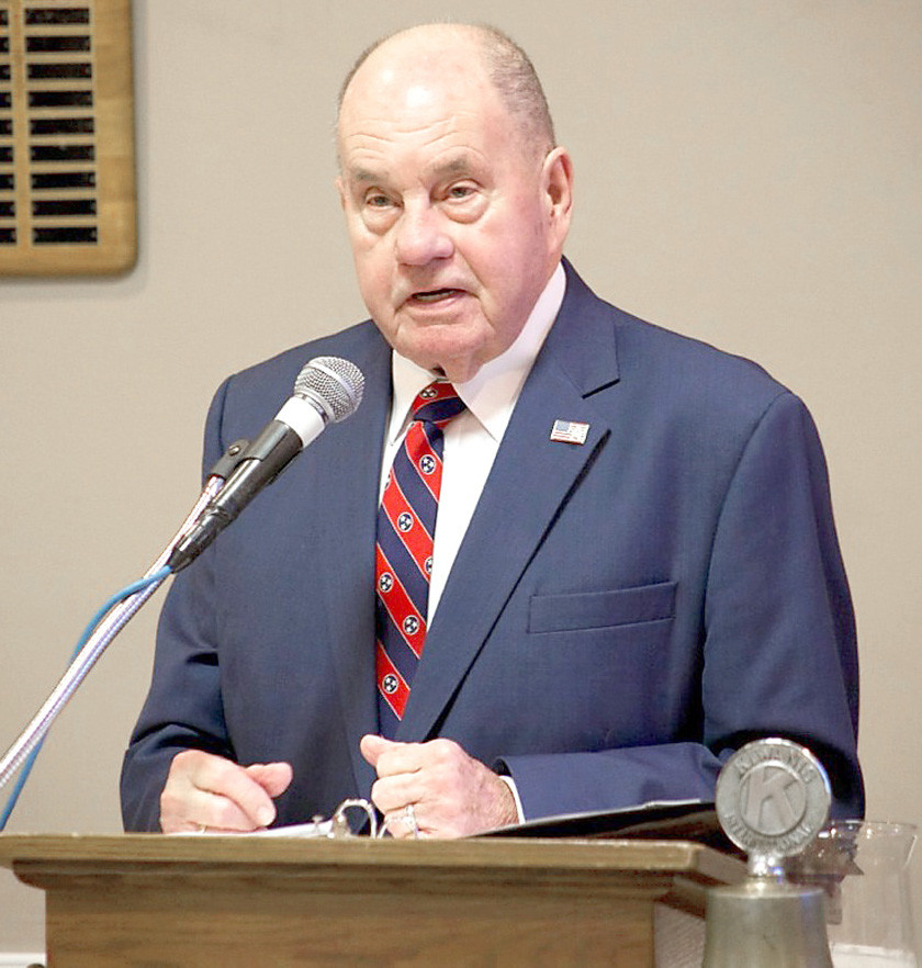 MAYOR Tom Rowland delivers his final State of the City address Thursday during a luncheon of the Cleveland Kiwanis Club.