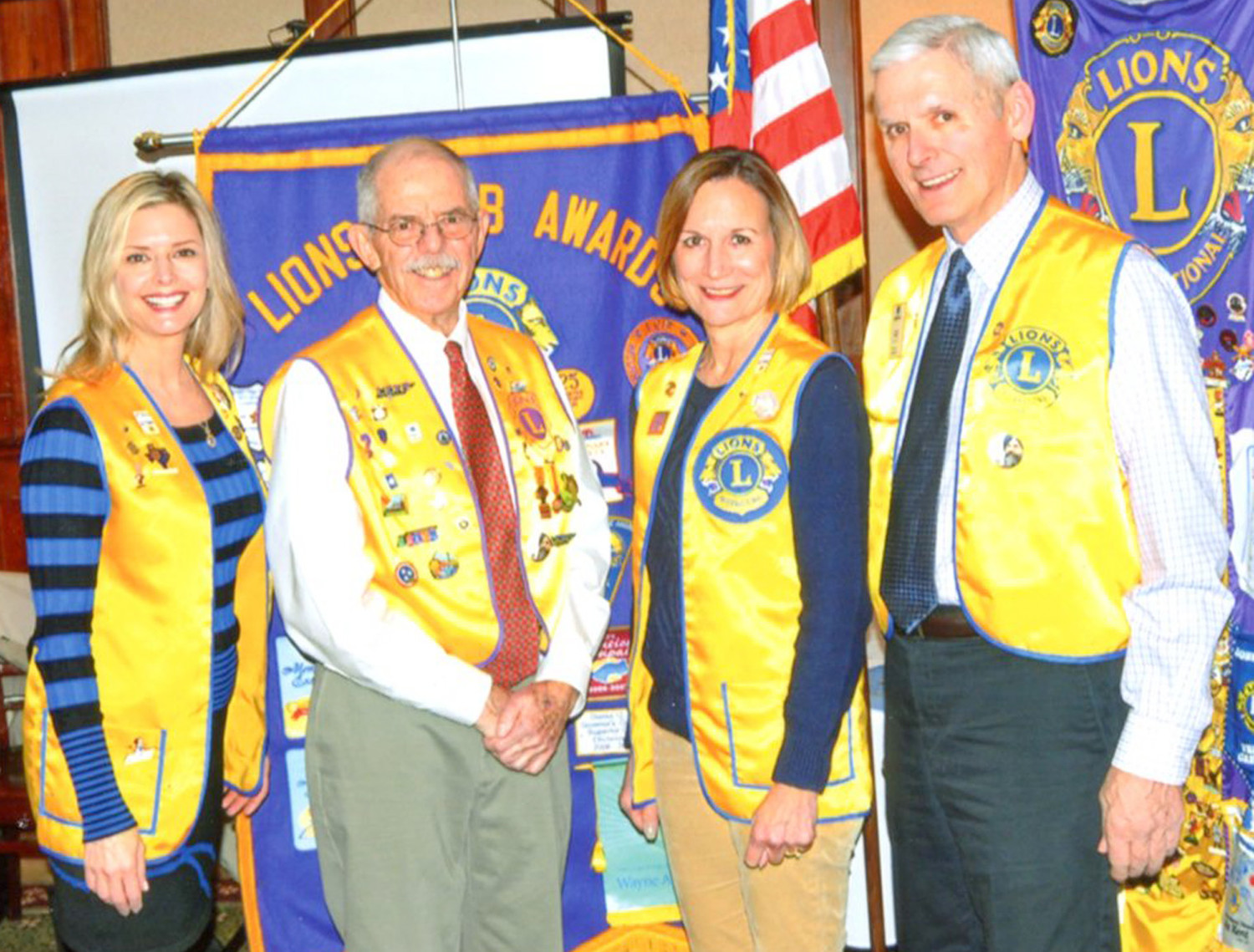 The Charles H. Coolidge Medal of Honor Heritage being built in Chattanooga was the program topic this week for the Lions Club of Cleveland meeting. The stories of more than 3,400 recipients of the Medal of Honor, including Cleveland's Paul Huff, are to be included at the center. From left are Cleveland Lion President Kim Ledford, Jim Wade with the Signal Mountain Lions Club, Cleveland Lion Lou Horner, and PDG Lion Jerry Pala with the Signal Mountain Lions Club. Pala was the guest speaker.