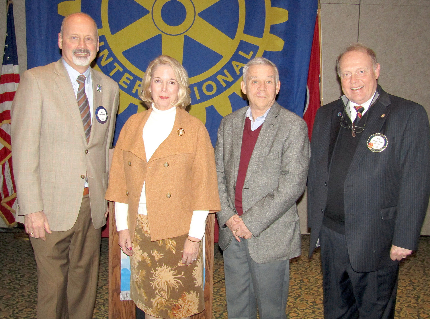 TENNESSEE BOARD OF REGENTS Chancellor Dr. Flora Tydings, second from left, recently addressed the Rotary Club of Cleveland about higher education at the state and local levels. From left are Cleveland State President Dr. Bill Seymour, Tydings, TBR member Tom Griscom, and Rotary President Bill Brown.