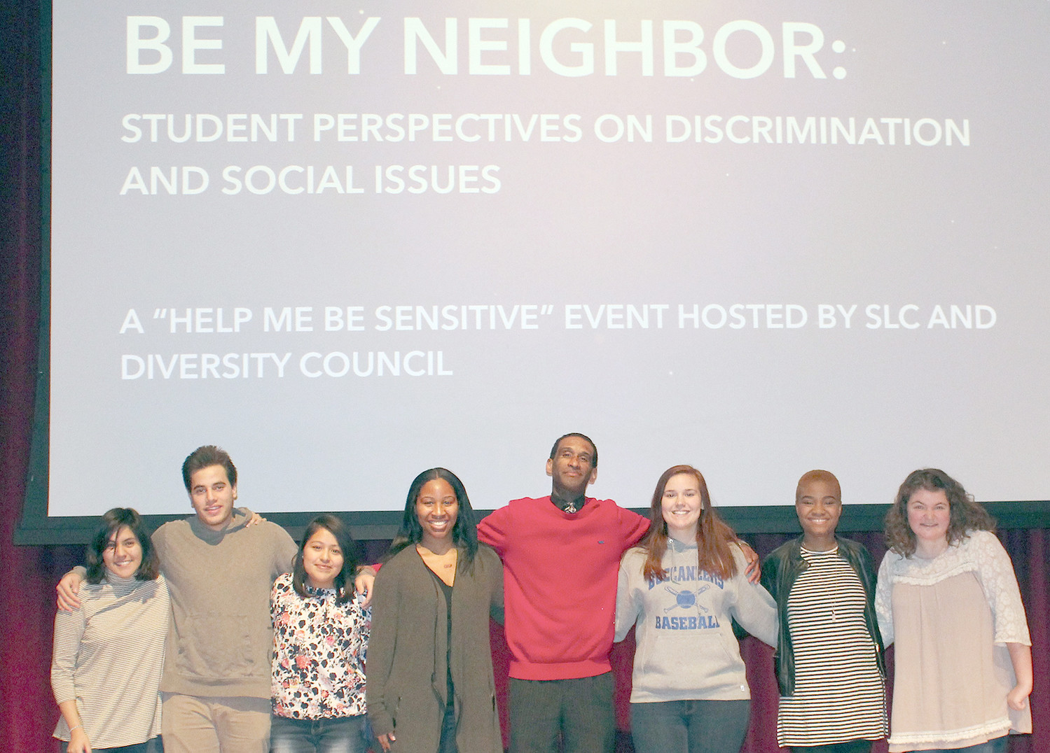 "SPEAKERS and panelists at Friday's ""Be My Neighbor"" event at Lee University's Dixon Center are, from left, Areli Hernandez, Watheq Zboun, Micaela Lucas, Nándi Newton, Franco Crosby, Megan Stockdale, Tolu Sofeso and Brianne Kennard."