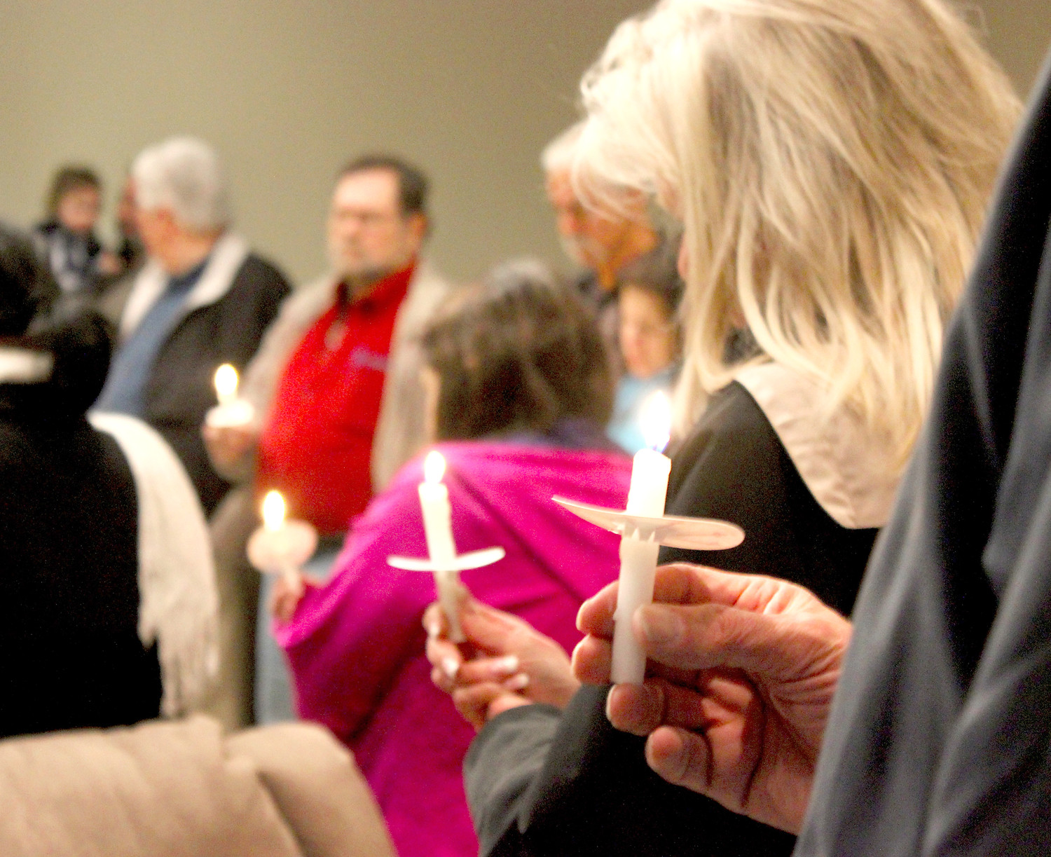 CANDLES were lit for a brief prayer vigil following New Hope Pregnancy Care Center's annual Celebration of Life event, held Monday at Living Word Church.