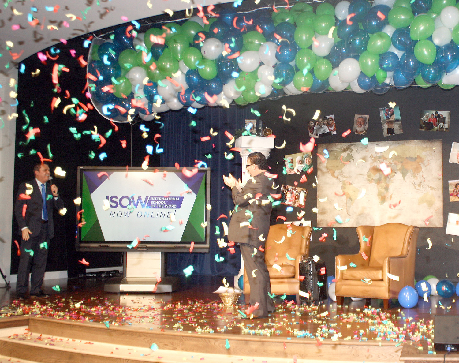 THE CONFETTI WAS flying, with balloons overhead, at Monday's launch of a new, online international bible college in Cleveland.  Leading the new educational venture will be Dr. Bryan Cutshall, left, and the Rec. Perry Stone, both shrouded in confetti.