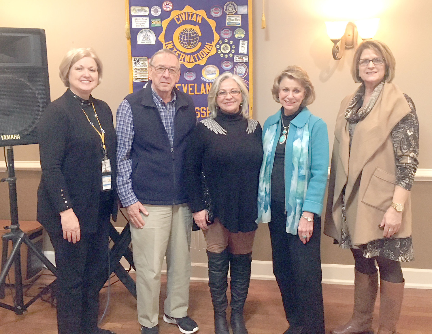 Civitan Club was recently addressed by Estela Liermann with U-GO Transportation and Angel's Time Home Care Assistance.  U-GO Transportation is an excellent resource for transportation for anyone who is not able to drive themselves to medical appoints and social events. Angel's Time provides non-medical home health aide and companion care service to seniors, elderly, mentally challenged and physically challenged adults.  Through coordinated care and support for clients and their families, Angel's Time Inc. enables individuals to remain in the safety and comfort of their own home environments for as long as possible.  Angel's Time, Inc. also serves clients transitioning back home from an assisted living or hospital setting. Liermann began both companies to reach out to people in our community with unmet needs.  From left are Diana Jackson, David Cummings, Liermann, Linda Wheeler and Teresa Davis.