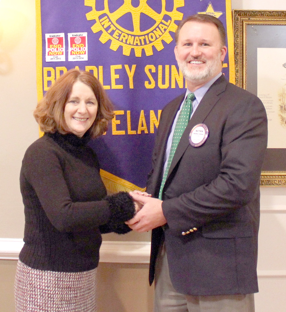 BRADLEY COUNTY SCHOOLS Director Dr. Linda Cash recently spoke to the Bradley Sunrise Rotary Club. She is seen here with club President Matthew Coleman.