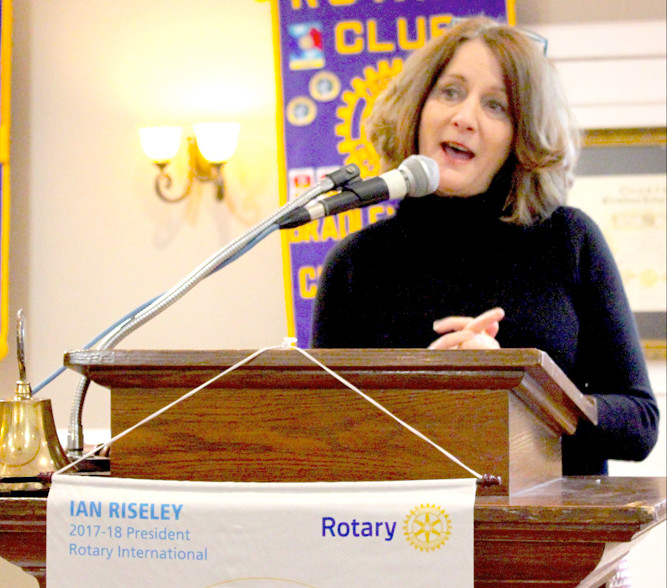 DR. LINDA CASH, director of Bradley County Schools, speaks to the Bradley Sunrise Rotary Club about the school district's Partnerships in Industry and Education Center.