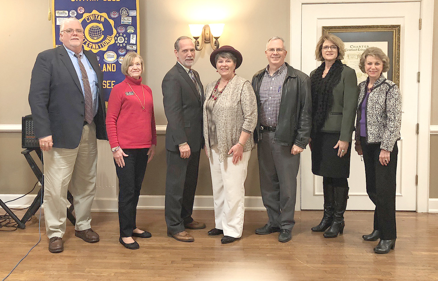 The Cleveland Civitan Club had Bradley County Mayor D. Gary Davis as guest speaker Wednesday. A positive report was given on the state of the Bradley County, with information ranging from Courthouse repairs, local industries and the new industrial park near Interstate 75 Exit 20.  From left are Lindsey Hathcock, Betty Haralson, Davis, Pam Edgemon, Barry Melton, Teresa Davis and Linda Wheeler.