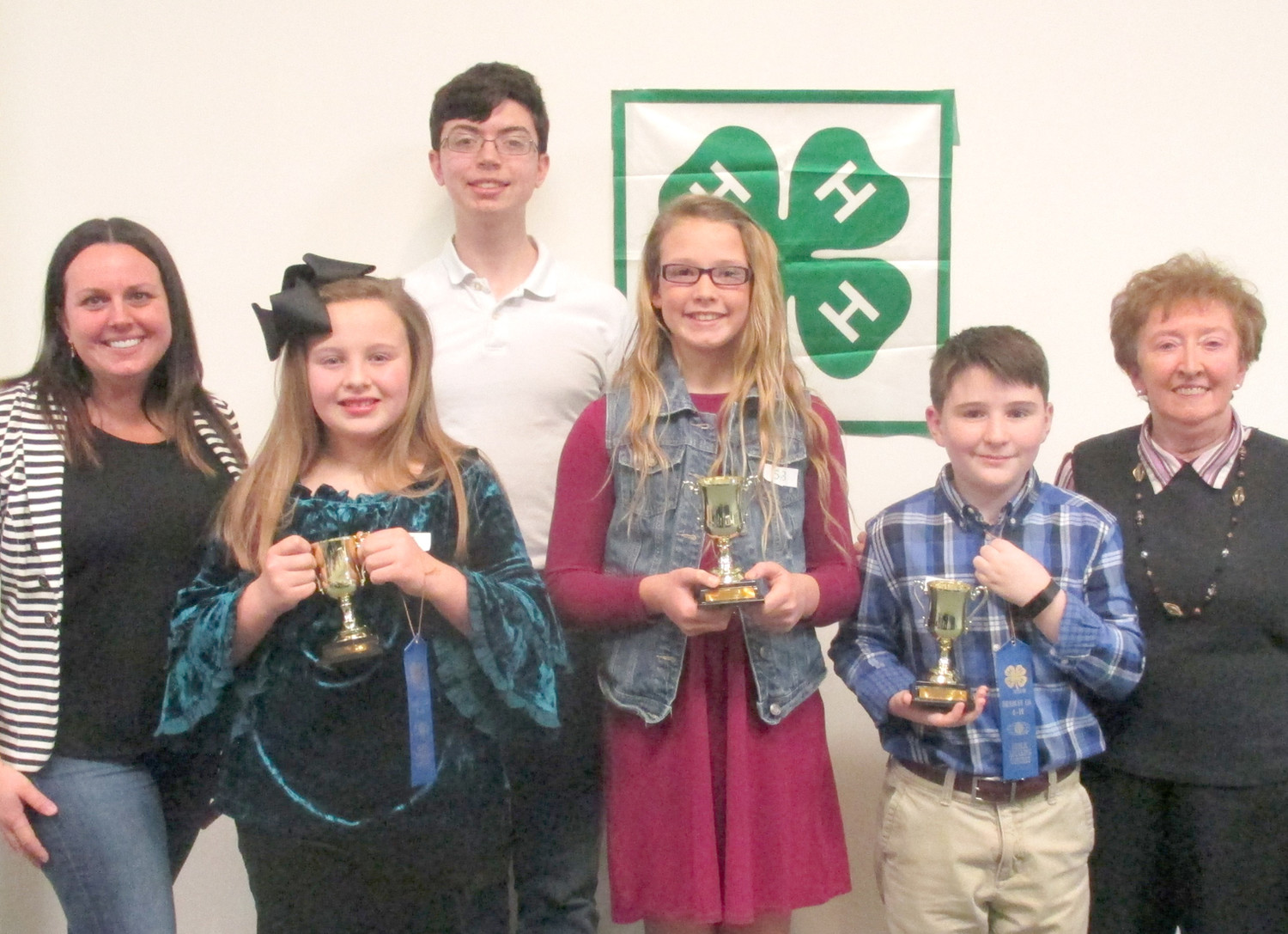 Bradley County 4-H Sub County Public Speaking winners for fifth grade were Lynlee Hodge from Park View Elementary; Ryann Presswood from Tennessee Christian Preparatory School; Parker White from Park View Elementary. Judges were Jessa Miller, front left; and Samuel Hood, back.
