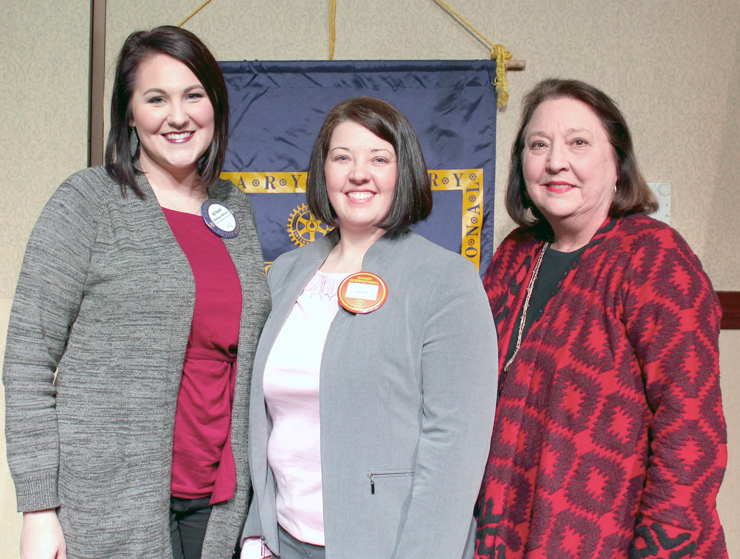 JUNIOR ACHIEVEMENT of the Ocoee Region and its programs were the focus of a recent Cleveland Rotary Club meeting. From left are JA board member Bethany McCoy, JA President Jennifer Pennell-Aslinger and JA volunteer Margaret Schenck.