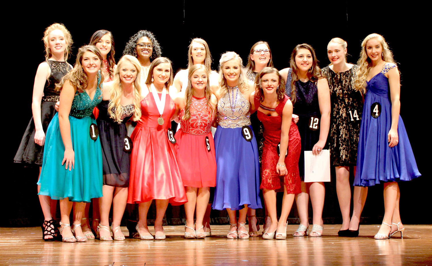 THE 14 GIRLS who vied for the title of Distinguished Young Woman of Cleveland for 2019 gather for a photo after the recent competition.