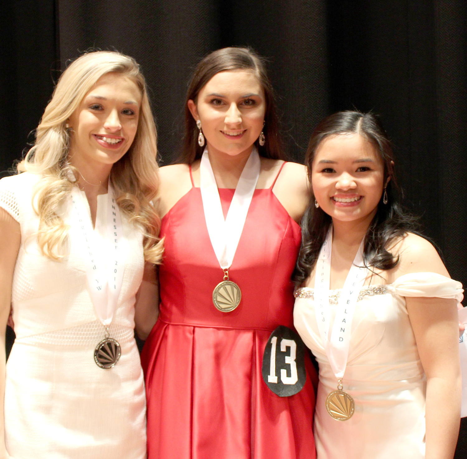 ELENA BURTON, the Distinguished Young Woman of Cleveland for 2019, center, is joined by the most recent DYW of Tennessee, Leah Humble, left, and the previous DYW of Cleveland, Jasmine Ngo.