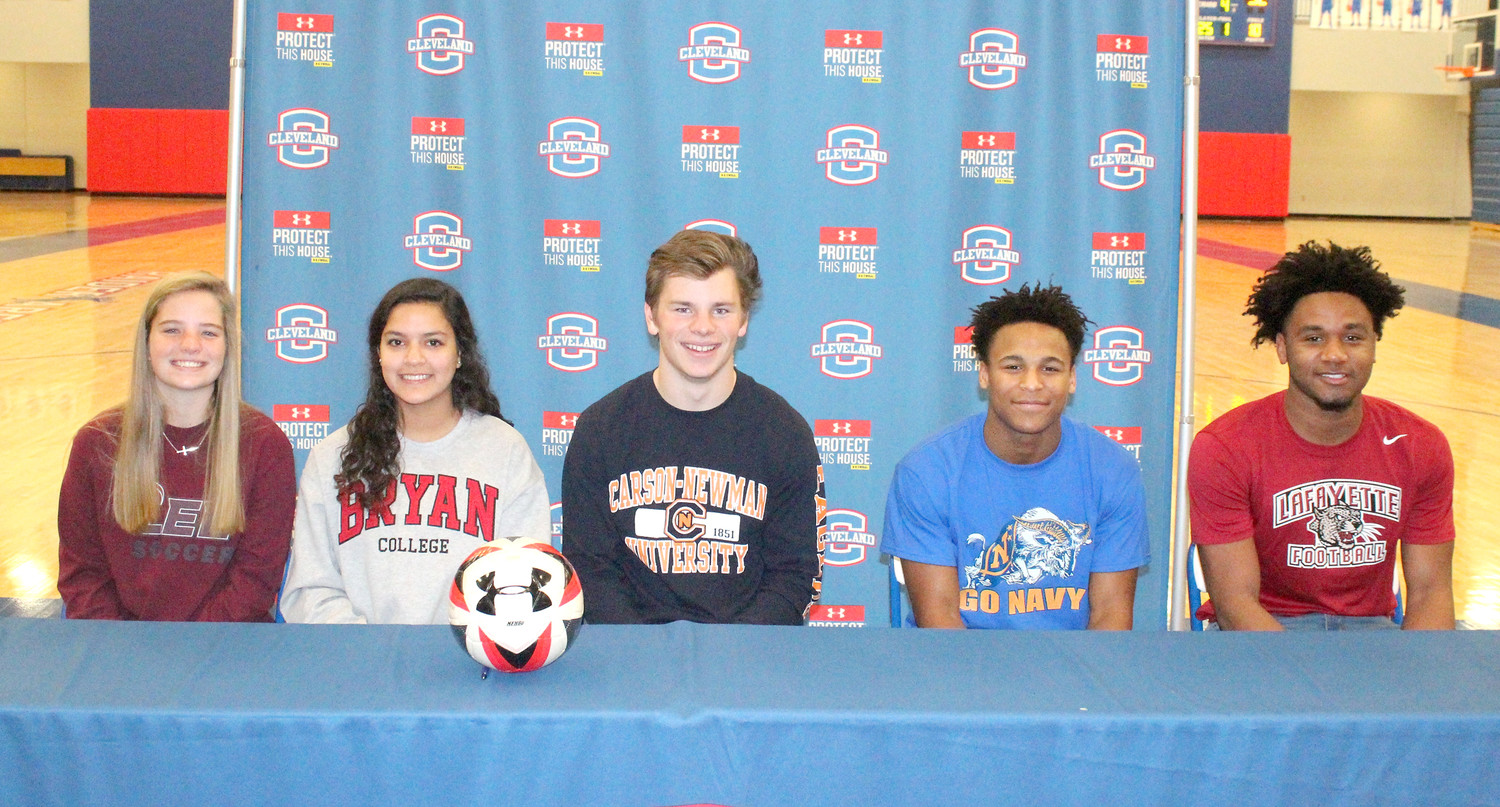 NATIONAL SIGNING DAY at Cleveland High School featured five well-accomplished student athletes. From left are Lauren Stutzman (soccer), Mary Claire Shaffer (soccer), Logan Stutzman (football), Keegan Jones (football) and Romeo Wykle (football).