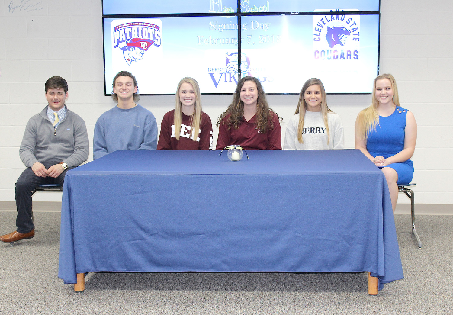 WALKER VALLEY HIGH SCHOOL celebrated National Signing Day with six Mustangs headed on to play collegiate sports. From left are Hunter Shamblin, University of the Cumberlands, baseball; Blake Peterson, Cleveland State Community College, baseball; Taylor Ellis, Lee University, soccer; Caitlin Dickson, Lee University, soccer; Lauren Caylor, Berry College, soccer; and Miranda Young, Tennessee Wesleyan University, softball.
