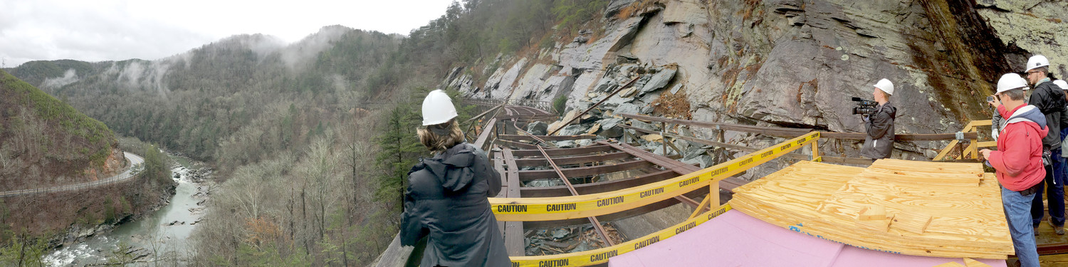 TVA OFFICIALS offered a tour of the damaged area of the Ocoee Flume to media representatives on Wednesday.