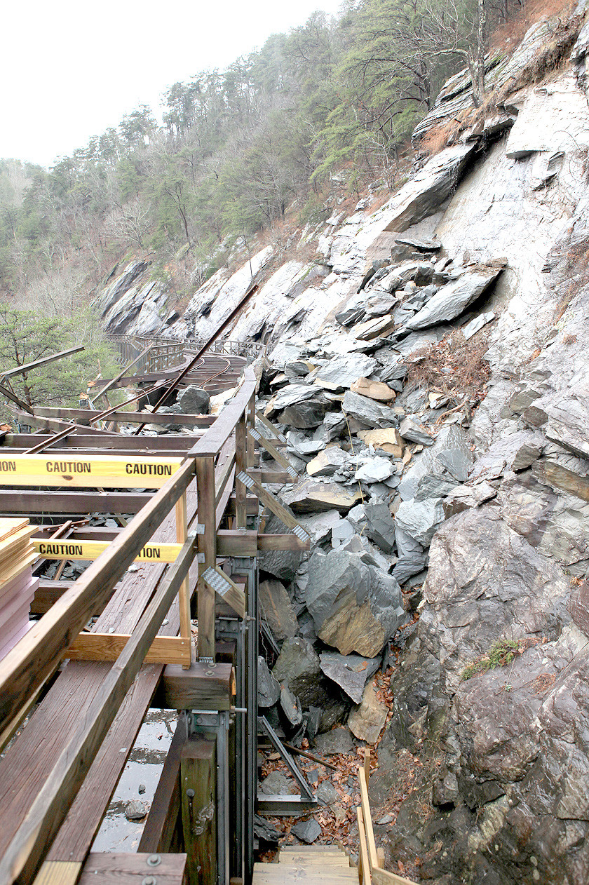 FALLEN rocks rest against the side of the Ocoee Flume about a mile from TVA's Ocoee #2 power house. The debris is from the original rockslide on Nov. 8, 2017, and also from additional rock being brought down to make sure the area is stable.