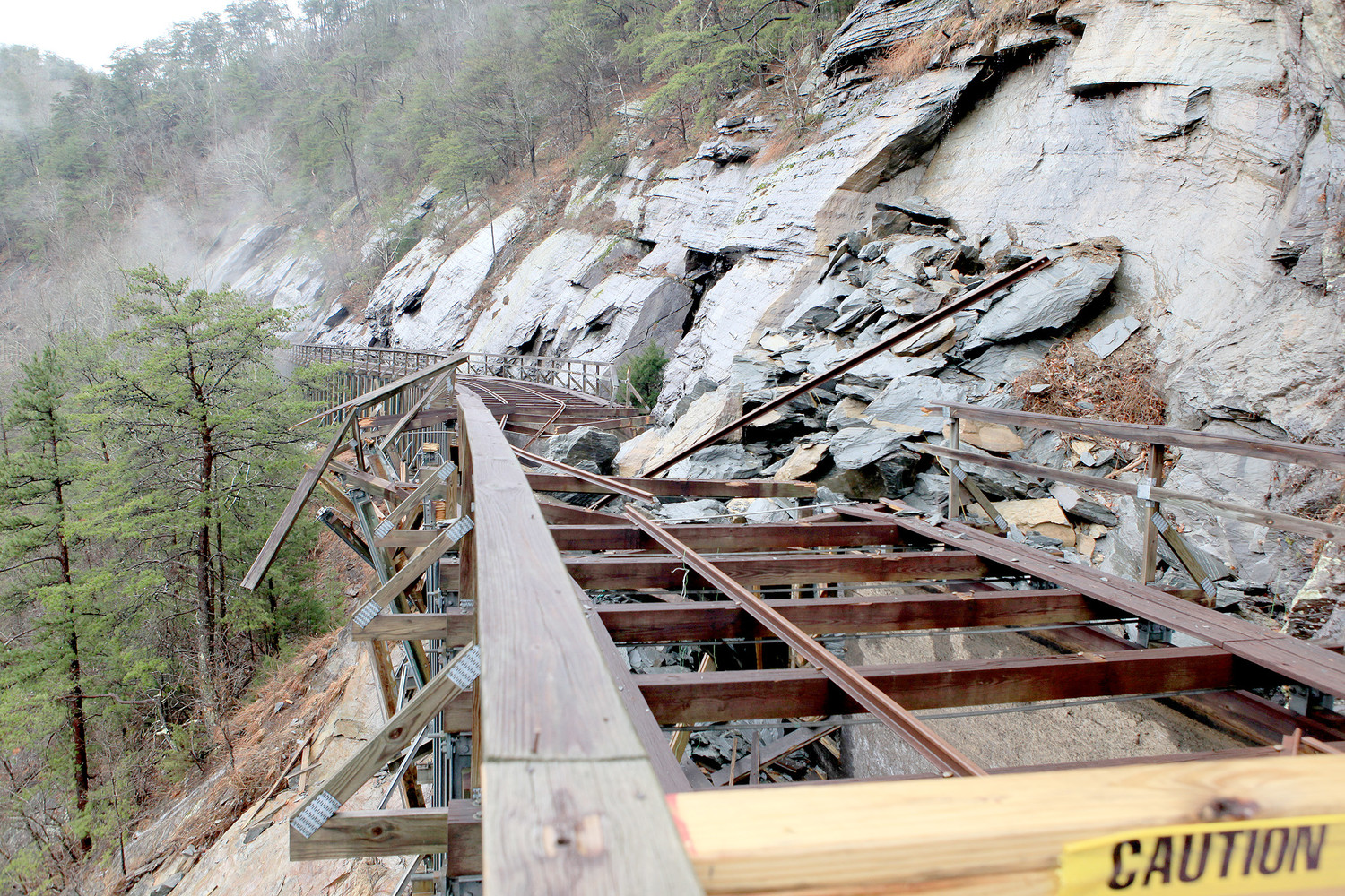 THE DAMAGE to the Ocoee Flume caused by a rockslide on Nov. 8, 2017, will cost an estimated $1.4 million to repair. In this photo, rock debris is visible, as is splintered wood and twisted metal.