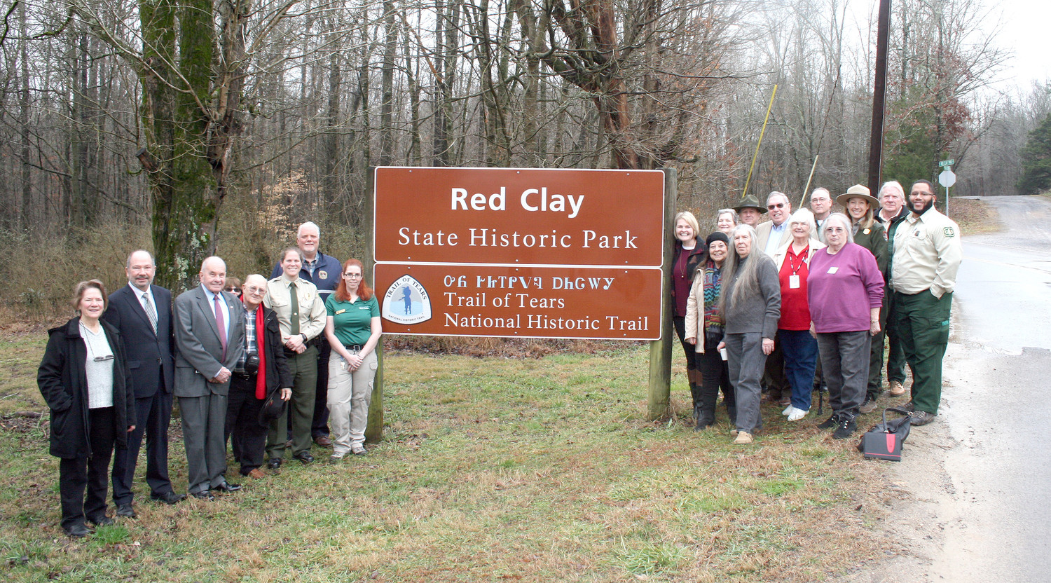 A LARGE GROUP of historians, Tennessee State Parks workers and members of various Native American-centered groups attended the unveiling of Red Clay's new sign. The sign designates the park as part of the National Historic Trail of Tears. The park hopes to imbue pride in Native Americans who visit by having the first portion of the sign in the Native Cherokee language.