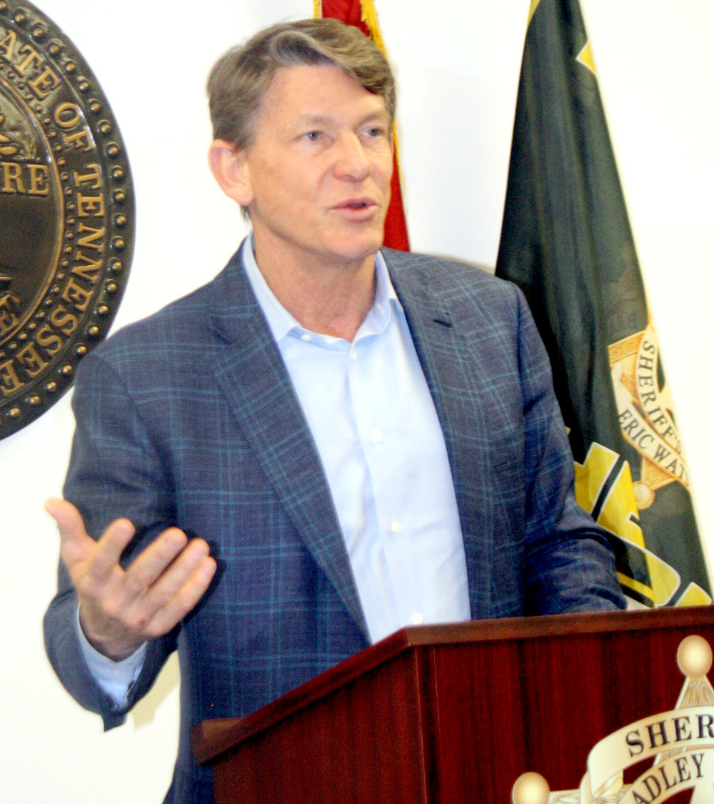 KNOXVILLE NATIVE and former Tennessee TNECD Commissioner Randy Boyd, now a candidate for governor, attended a round-table discussion Wednesday afternoon at the Bradley County Justice Center with county and city law enforcement personnel.