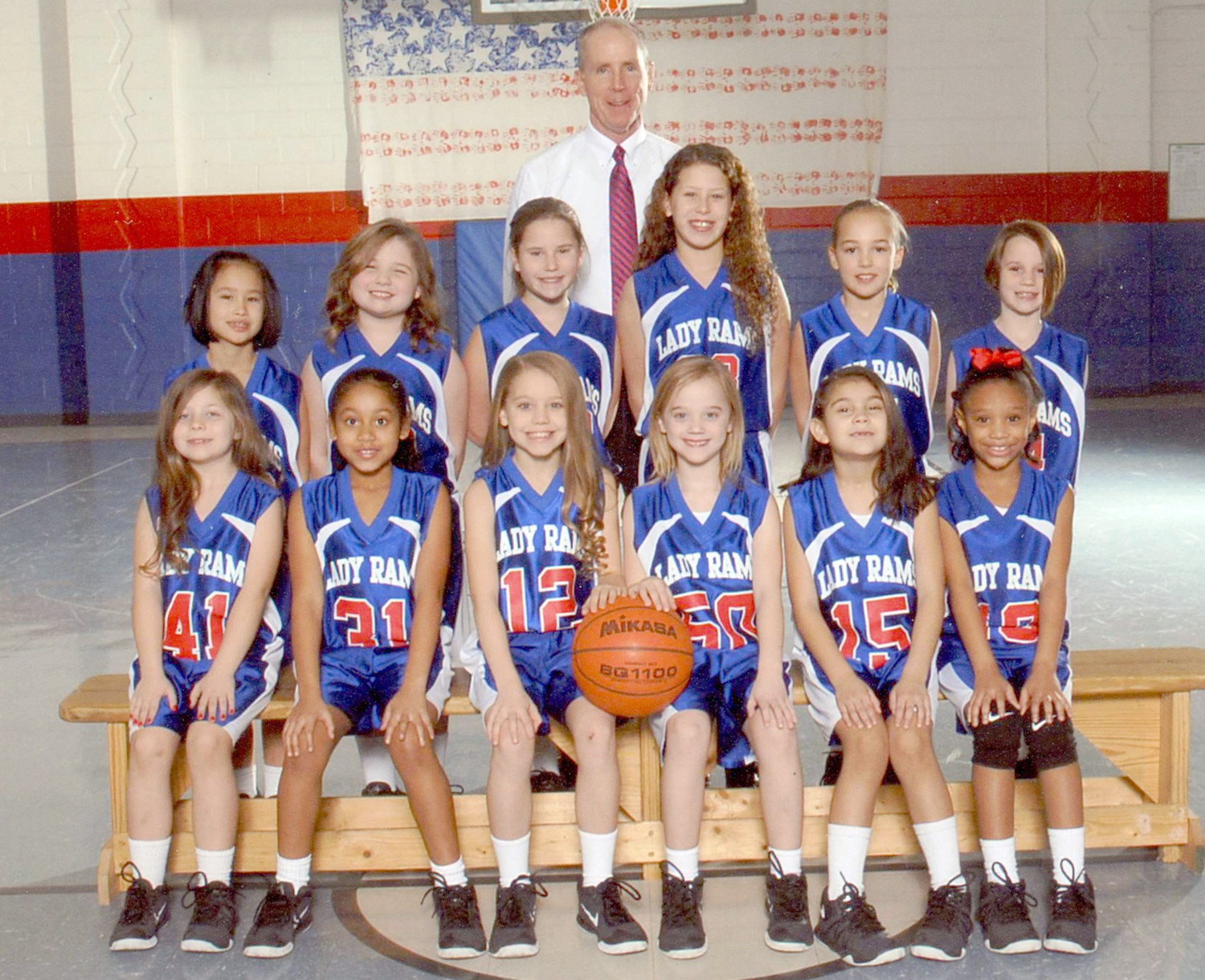 THE NORTH LEE Lady Rams second/third-grade basketball team won the Bradley County Elementary League championship recently. The Lady Rams finished the season with a perfect 21-0 record. First row, from left: Lilly Maddux, Jordan Johnson, Laney Copeland, Paisley Payne, Kaitlyn Mendez and Kaija Cox. Second row: Madi McDonald, Kayla Holt, Isabella Hill, Emily Patterson, Lola Meyers and Abby Hernandez. Lady Rams coach David Hancock is at back.