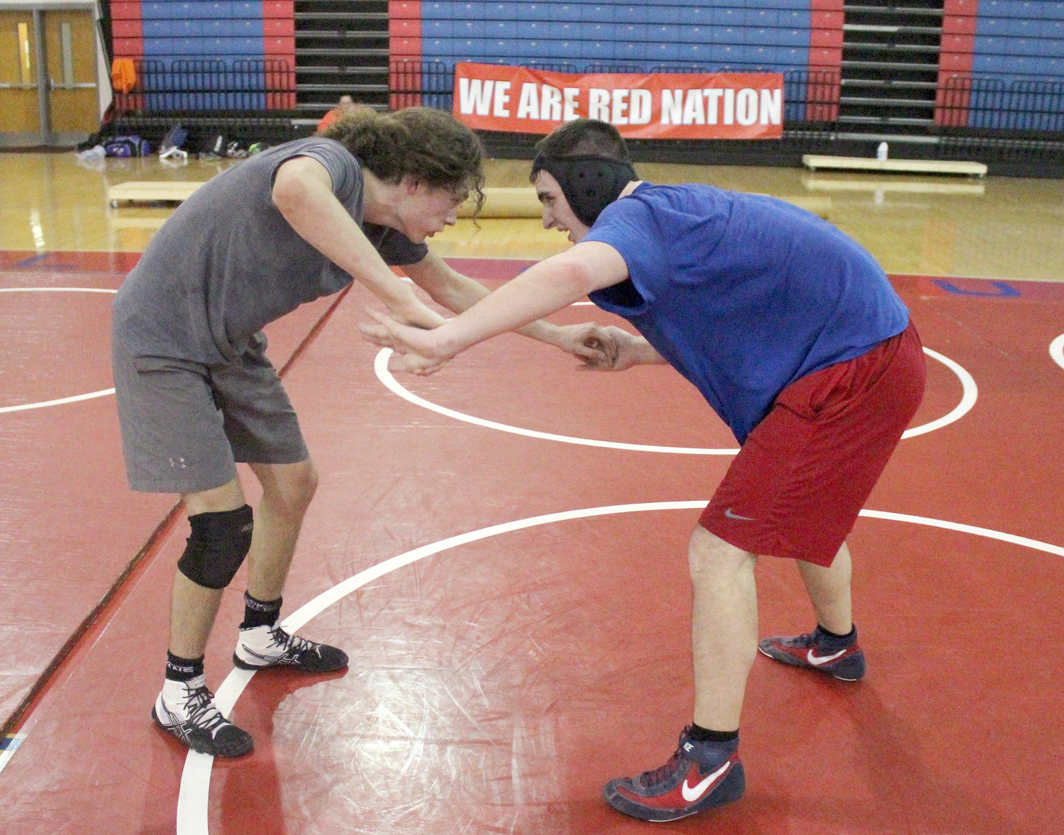 POLK COUNTY wrestling captains, sophomore Zack Hammock, left, and senior Nolan Morris, right, practice in preparation for the TSSAA State Traditional Championships. The first-year Wildcats' program will send seven individuals to the state tournament.